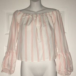 Off the shoulder pink and white striped top